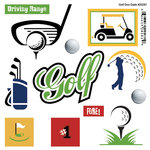 Scrapbook Customs - Sports Pride Collection - Doo Dads - Self Adhesive Metal Badges - Golf