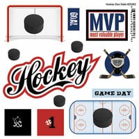 Scrapbook Customs - Sports Pride Collection - Doo Dads - Self Adhesive Metal Badges - Hockey