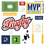 Scrapbook Customs - Sports Pride Collection - Doo Dads - Self Adhesive Metal Badges - Rugby