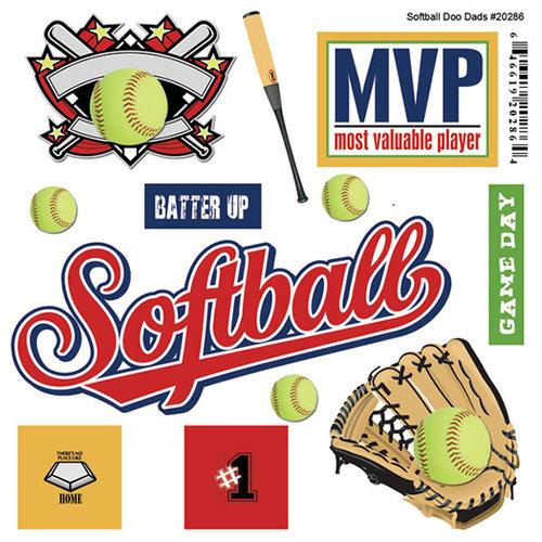 Scrapbook Customs - Sports Pride Collection - Doo Dads - Self Adhesive Metal Badges - Softball