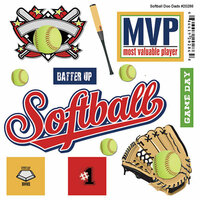 Scrapbook Customs - Sports Pride Collection - Doo Dads - Self Adhesive Metal Badges - Softball