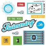 Scrapbook Customs - Sports Pride Collection - Doo Dads - Self Adhesive Metal Badges - Swimming