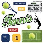 Scrapbook Customs - Sports Pride Collection - Doo Dads - Self Adhesive Metal Badges - Tennis