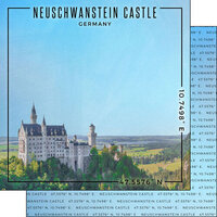 Scrapbook Customs - World Site Coordinates Collection - 12 x 12 Double Sided Paper - Germany - Neuschwanstein Castle