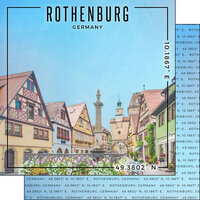 Scrapbook Customs - World Site Coordinates Collection - 12 x 12 Double Sided Paper - Germany - Rothenburg