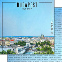 Scrapbook Customs - World Site Coordinates Collection - 12 x 12 Double Sided Paper - Hungary - Budapest