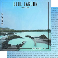 Scrapbook Customs - World Site Coordinates Collection - 12 x 12 Double Sided Paper - Iceland - Blue Lagoon