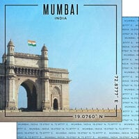 Scrapbook Customs - World Site Coordinates Collection - 12 x 12 Double Sided Paper - India - Mumbai