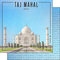 Scrapbook Customs - World Site Coordinates Collection - 12 x 12 Double Sided Paper - India - Taj Mahal
