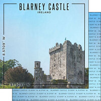 Scrapbook Customs - World Site Coordinates Collection - 12 x 12 Double Sided Paper - Ireland - Blarney Castle