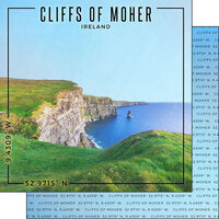 Scrapbook Customs - World Site Coordinates Collection - 12 x 12 Double Sided Paper - Ireland - Cliffs of Moher