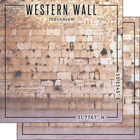 Scrapbook Customs - World Site Coordinates Collection - 12 x 12 Double Sided Paper - Israel - Jerusalem Western Wall