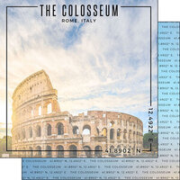 Scrapbook Customs - World Site Coordinates Collection - 12 x 12 Double Sided Paper - Italy - Colosseum