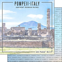 Scrapbook Customs - World Site Coordinates Collection - 12 x 12 Double Sided Paper - Italy - Pompeii