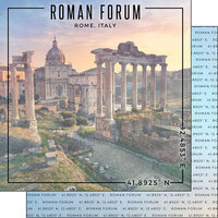 Scrapbook Customs - World Site Coordinates Collection - 12 x 12 Double Sided Paper - Italy - Roman Forum
