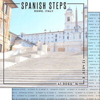 Scrapbook Customs - World Site Coordinates Collection - 12 x 12 Double Sided Paper - Italy - Spanish Steps