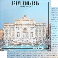 Scrapbook Customs - World Site Coordinates Collection - 12 x 12 Double Sided Paper - Italy - Trevi Fountain