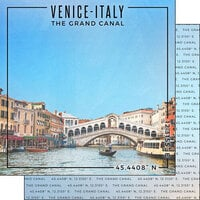 Scrapbook Customs - World Site Coordinates Collection - 12 x 12 Double Sided Paper - Italy - Venice