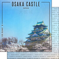 Scrapbook Customs - World Site Coordinates Collection - 12 x 12 Double Sided Paper - Japan - Osaka Castle