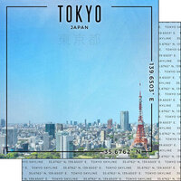Scrapbook Customs - World Site Coordinates Collection - 12 x 12 Double Sided Paper - Japan - Tokyo Skyline