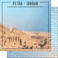 Scrapbook Customs - World Site Coordinates Collection - 12 x 12 Double Sided Paper - Jordan - Petra