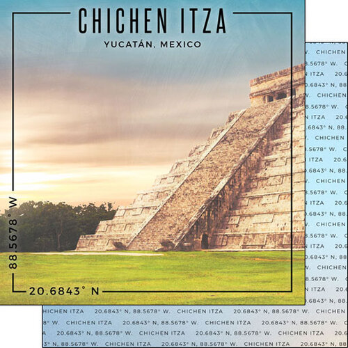 Scrapbook Customs - World Site Coordinates Collection - 12 x 12 Double Sided Paper - Mexico - Chichen Itza