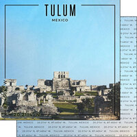 Scrapbook Customs - World Site Coordinates Collection - 12 x 12 Double Sided Paper - Mexico - Tulum