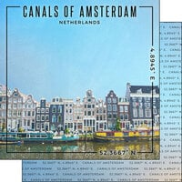 Scrapbook Customs - World Site Coordinates Collection - 12 x 12 Double Sided Paper - Netherlands - Canals of Amsterdam