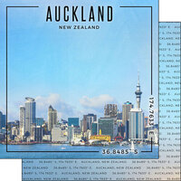 Scrapbook Customs - World Site Coordinates Collection - 12 x 12 Double Sided Paper - New Zealand - Auckland