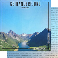Scrapbook Customs - World Site Coordinates Collection - 12 x 12 Double Sided Paper - Norway - Geirangerfjord