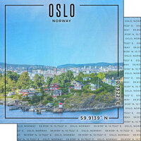 Scrapbook Customs - World Site Coordinates Collection - 12 x 12 Double Sided Paper - Norway - Oslo