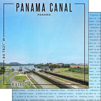 Scrapbook Customs - World Site Coordinates Collection - 12 x 12 Double Sided Paper - Panama - Panama Canal