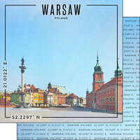 Scrapbook Customs - World Site Coordinates Collection - 12 x 12 Double Sided Paper - Poland - Warsaw