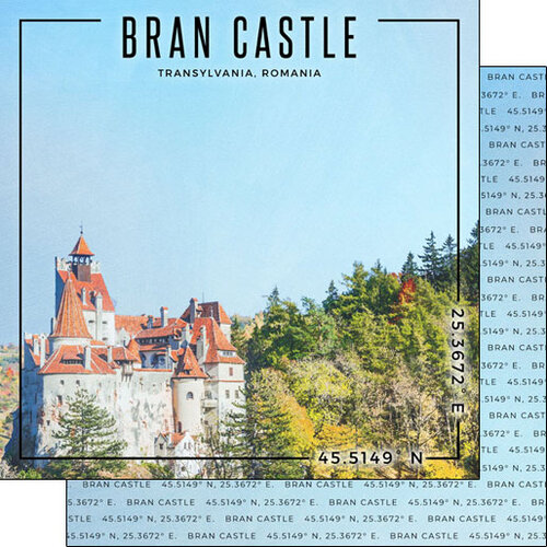 Scrapbook Customs - World Site Coordinates Collection - 12 x 12 Double Sided Paper - Romania - Bran Castle