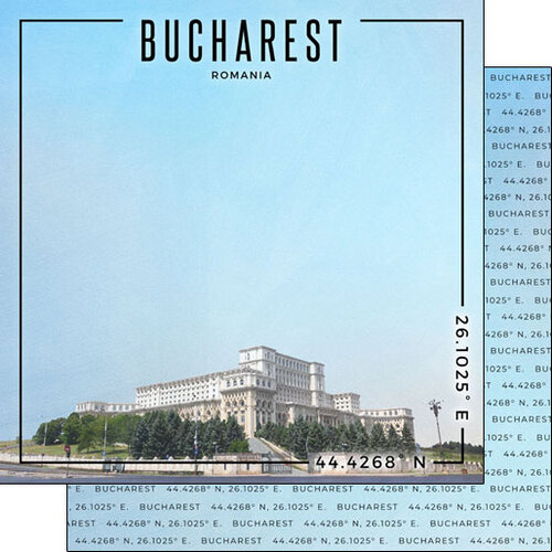 Scrapbook Customs - World Site Coordinates Collection - 12 x 12 Double Sided Paper - Romania - Bucharest