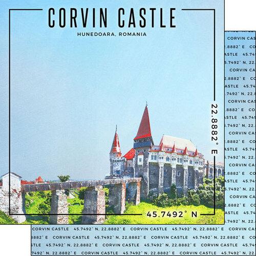 Scrapbook Customs - World Site Coordinates Collection - 12 x 12 Double Sided Paper - Romania - Corvin Castle