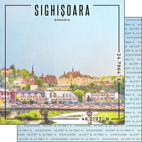 Scrapbook Customs - World Site Coordinates Collection - 12 x 12 Double Sided Paper - Romania - Sighisoara