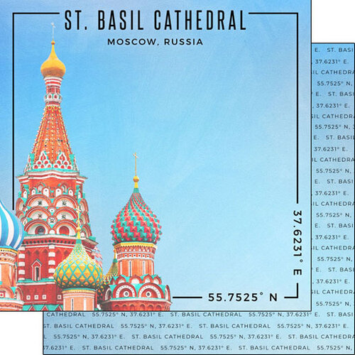 Scrapbook Customs - World Site Coordinates Collection - 12 x 12 Double Sided Paper - Russia - St. Basil