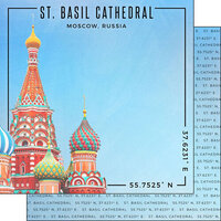 Scrapbook Customs - World Site Coordinates Collection - 12 x 12 Double Sided Paper - Russia - St. Basil's Cathedral