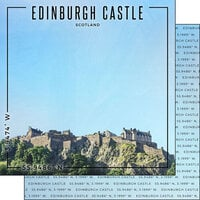 Scrapbook Customs - World Site Coordinates Collection - 12 x 12 Double Sided Paper - Scotland - Edinburgh Castle