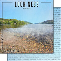 Scrapbook Customs - World Site Coordinates Collection - 12 x 12 Double Sided Paper - Scotland - Loch Ness