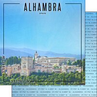 Scrapbook Customs - World Site Coordinates Collection - 12 x 12 Double Sided Paper - Spain - Alhambra