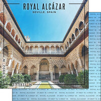 Scrapbook Customs - World Site Coordinates Collection - 12 x 12 Double Sided Paper - Spain - Royal Alcazar of Seville