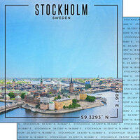 Scrapbook Customs - World Site Coordinates Collection - 12 x 12 Double Sided Paper - Sweden - Stockholm