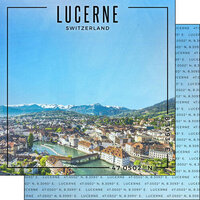 Scrapbook Customs - World Site Coordinates Collection - 12 x 12 Double Sided Paper - Switzerland - Lucerne