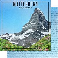 Scrapbook Customs - World Site Coordinates Collection - 12 x 12 Double Sided Paper - Switzerland - Matterhorn