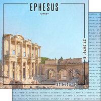 Scrapbook Customs - World Site Coordinates Collection - 12 x 12 Double Sided Paper - Turkey - Ephesus