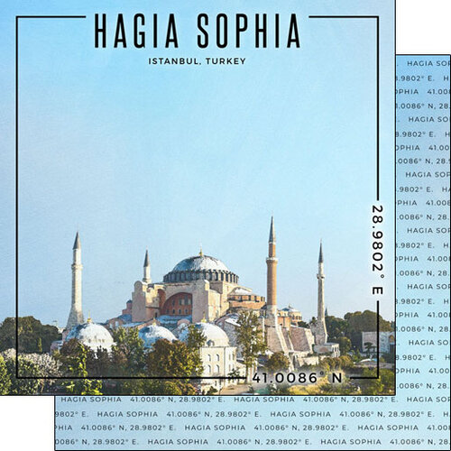 Scrapbook Customs - World Site Coordinates Collection - 12 x 12 Double Sided Paper - Turkey - Istanbul Hagia Sophia