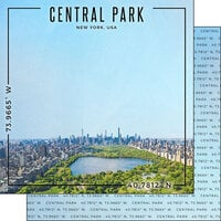 Scrapbook Customs - World Site Coordinates Collection - 12 x 12 Double Sided Paper - USA - New York Central Park