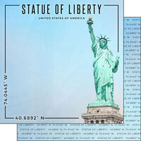 Scrapbook Customs - World Site Coordinates Collection - 12 x 12 Double Sided Paper - USA - Statue of Liberty
